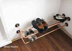Shoe Rack and Shoe… Best Shoe Rack, Diy Shoe Rack, Shoe Racks, Closet Shoe Storage, Closet Shelves, Shoe Tidy, Copper Shoes, Diy Pipe, Expensive Shoes