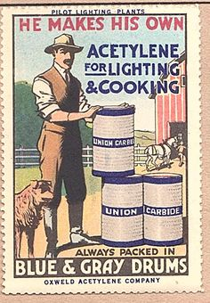 Acetylene Union Carbide Drums in Rural America Poster Stamp