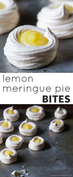 Lemon Meringue Pie Bites Lemon meringue pie bites are a light, lemony dessert that is gluten-free! Mini meringue nests are filled with lemon curd. Lemon Desserts, Lemon Recipes, Mini Desserts, Just Desserts, Sweet Recipes, Delicious Desserts, Yummy Food, Meringue Desserts, Lemon Curd Dessert