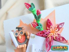 tutorial for this graduation card with quilled owl