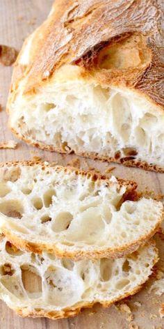 Easy ciabatta bread recipe or Italian slipper bread Authentic homemade from scratch vegan and perfect to dunk in a hearty bowl of soup Italian Bread Recipes, Artisan Bread Recipes, Easy Bread Recipes, Baking Recipes, Bread Bun, Bread Rolls, No Yeast Bread, Best Bread Recipe, Gluten Free Ciabatta Bread Recipe