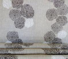 Oatmeal  linen Tigre design gray and off white  by CelinaMancurti,