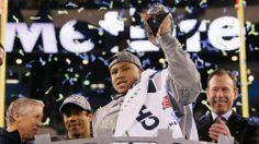 Super Bowl MVP Malcolm Smith celebrates after the Seahawks' victory over Denver Broncos. SB XLVIII
