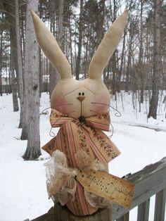 Folk Art PrimiTive SPRING EasTer Egg GruNgy prim BuNNy RABBIT DOLL Decoration #NaivePrimitive #MelissaHarmon