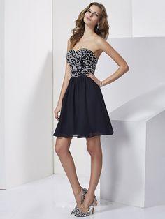 A-line Chiffon Sweetheart Embroidery Homecoming Dress jy1645 | wowodress.com