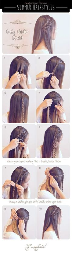 Summer Braid Hairstyle For Summer summer long hair braids diy hair hair tutorial. - Summer Braid Hairstyle For Summer summer long hair braids diy hair hair tutorial hairstyles hair tu - Under Braids, Braided Hairstyles Tutorials, Braid Tutorials, Trendy Hairstyles, Medium Hairstyles, Hairstyle Ideas, Long Haircuts, Straight Hairstyles, Simple Hairstyles For School