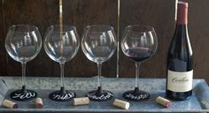 DIY Chalkboard Wine Glasses for wedding favors