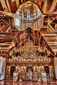 Interior of St. George Chapel at a Greek Orthodox Monastery in Arizona.