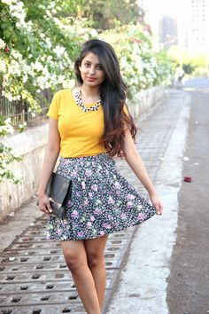 Printed floral skirts are feminine and romantic for the season