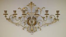 """VINTAGE ITALIAN ITALY CREAMY & GOLD TOLE CANDLEHOLDER WALL HANGING 39"""" LONG"""