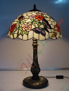 Tiffany Table Lamp (Butterfly and Flower)