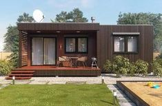 visualization of the summer house Bungalow House Plans, Small House Plans, Wendy House, Casas Containers, 3d Visualization, Sims House, Modern Exterior, White Houses, House In The Woods