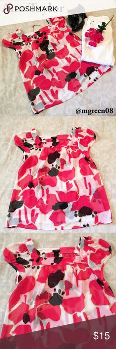 Ann Taylor Blouse Ann Taylor sheer  square neck blouse with tulip sleeves. Black, white and pink pattern. 100% polyester. Camisole underneath is recommended. In excellent used condition. Ann Taylor Tops Blouses