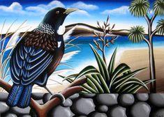 NZ Birds & Landscape - TashArt Tui Bird, Polynesian Art, New Zealand Art, Nz Art, Maori Art, Kiwiana, Landscape Paintings, Landscapes, Art Studies
