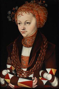 A 1513 painting by Lucas Cranach the Elder shows a woman in a dress with sleeves pieced in a sawtooth pattern of red, yellow, white, and a rich chocolate brown.