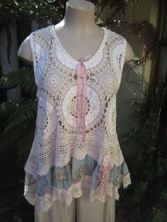 RESERVED FOR SHERI.. vintage crochet and linen tunic, Vintage Kitty..  antique roses, lace, ooak..shabby chic