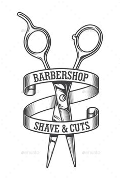 Buy Vintage Monochrome Hairdresser Salon Logotype by imogi on GraphicRiver. Vintage monochrome hairdresser salon logotype with sharp scissors and inscriptions on rounded ribbon isolated vector . Vintage Hairdresser, Hairdresser Logo, Barber Tattoo, Barber Logo, Barber Shop Interior, Barber Shop Decor, Free Wood Texture, Monochrome, Shaving Cut