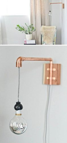 DIY: copper pipe wall sconce ( could do this to hang carved can lamp. Diy Luminaire, Diy Lampe, Copper Diy, Copper Wall, Copper Pipe Shelves, Copper Lamps, Diy Light Fixtures, Pipe Lamp, Home And Deco