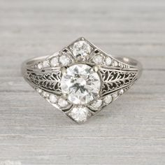 1.05 Carat Old European Cut Diamond Vintage Art Deco Engagement Ring Circa 1925