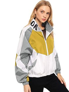 Color Block Letter Print Jacket Jackets Coats Casual Autumn Clothing Stand Collar Long Sleeve Outerwear Multi S Blazers For Women, Jackets For Women, Windbreaker Outfit, Leopard Print Jacket, Clothes Stand, Blazer Pattern, Leather Trench Coat, Cute Jackets, Outerwear Women