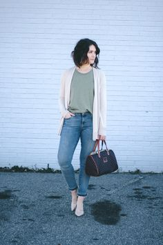Budget Week! Part 1 - Casual Date Night, early spring casual date night outfit, women's wrangler denim, wrangler for women, early spring outfit, loft cardigan, casual date night