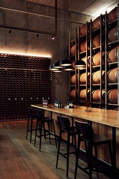 Giant Steps Winery – Tom Ross – Wine World Brewery Design, Restaurant Design, Wine Bar Design, Wine Bar Restaurant, Restaurant Interiors, Winery Tasting Room, Wine Tasting, Brewery Interior, Brewery Decor