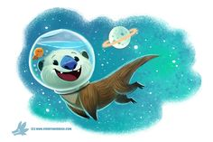 Daily Paint #1186. Otter Space by Cryptid-Creations.deviantart.com on @DeviantArt