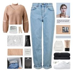 """// b a b y   j e a n s //"" by lion-smile ❤ liked on Polyvore featuring WithChic, Topshop, Versace, NARS Cosmetics, Byredo, Paul Smith and Davines"