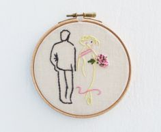 He and sheEmbroidered Hoop Art. by HelenKurtidu on Etsy, €23.00