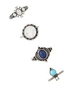 4 PCS de imitación de la gema de los anillos retros