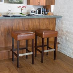Buy Barto Hazelnut Leather Backless Bar Stools (Set of 2) by GDFStudio on Dot & Bo
