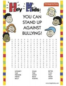 Printables Anti Bullying Worksheets english worksheets the bully free interactive bullying lesson entitled stand up against it crossword puzzle included