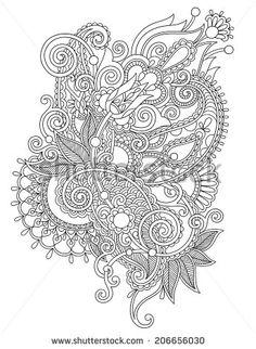 original hand draw line art ornate flower design. Ukrainian traditional style. Black and white collection, raster version