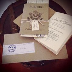 Destination Wedding invitation set with Kraft paper passport covers, boarding pass RSVP cards and personalised stamp detail