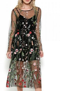 Esley Collection Bohemian Mesh Embroidered Dress