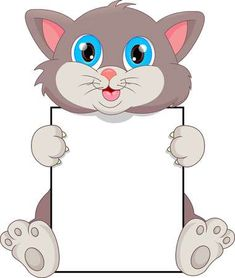 cute cat cartoon and blank sign Hand Crafts For Kids, Animal Crafts For Kids, Boarder Designs, Page Borders Design, Teacher Classroom Decorations, Boarders And Frames, Blank Sign, School Frame, Kids Background