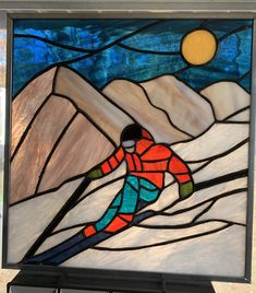 SKIER SUN CATCHER  STAINED GLASS WINDOW HANGER FREE SHIPPING