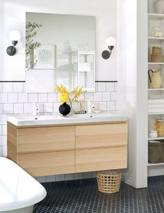IKEA bathroom is seamless, stylish, and timeless. Buy IKEA product series with high quality to equip your modern bathroom. Bathroom Furniture Inspiration, Ikea Bathroom Furniture, Ikea Bathroom Vanity, Ikea Sinks, Ikea Mirror, Small Bathroom, Mirror Tiles, Bathroom Ideas, White Bathroom