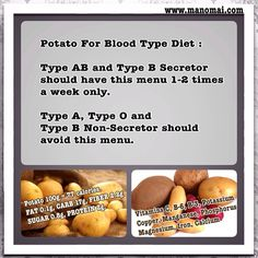 Can I have Potato Menu for Blood Type Diet? Blood Type Diet, For Your Health, Vitamin C, Good To Know, Menu, Potatoes, Vegetables, Food, Menu Board Design