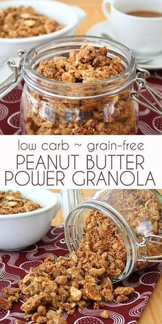 Low Carb Peanut Butter Power Granola. Who says you can't have cereal on a low carb keto diet? #grainfree #lowcarb #sugarfreerecipes #granola #peanutbutter via @dreamaboutfood