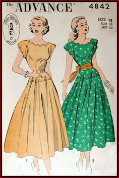 Advance 4842-1948 Vintage Sewing Patterns Advance 1940s Dresses Scallops Extended Shoulders Topstitching Flared Skirts Sash Yoke Lapped Seams