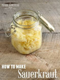 Tangy homemade sauerkraut-- just cabbage and salt! You won't believe how easy or tasty it is, plus it's packed-full of probiotics!