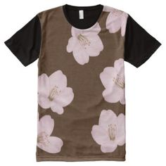 Watercolor Dark Brown Cherry Blossoms Panel Shirt