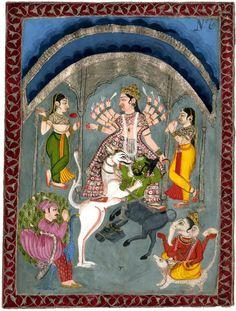 Durga Mahisasuramardini with Karttikeya, Ganesa (according to register) and female attendants, with caption. © The Trustees of the British Museum Indian Art Paintings, Old Paintings, Miniature Paintings, Krishna Hindu, Kali Hindu, Durga Goddess, Durga Maa, Hanuman, Tantra Art