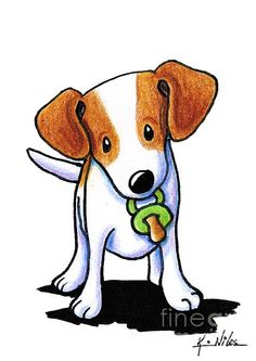 Jack Russell Terrier dog art by KiniArt artist, Kim Niles. © KiniArt™ - All Rights Reserved.