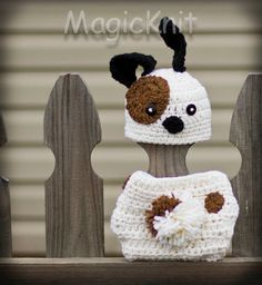 Puppy Dog Newborn Baby Crochet Hat and Diaper with pompom tail. Great for Photo Prop
