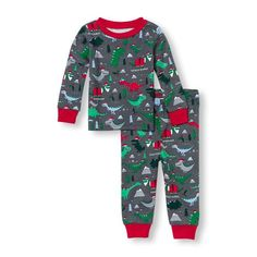Baby And Toddler Boys Long Sleeve Dinoclaus Printed Top And Pants PJ Set | The Children's Place