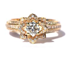 UNIQUE Flower Rose Diamond Engagement or Right Hand Ring - 2.00 carat - 14K yellow gold - 14k White gold - 14K rose gold- wedding - fL01YG
