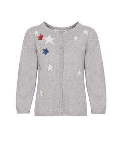 Παιδική ζακέτα από σύμμεικτο πλεκτό μελανζέ με jacquard σχέδιο αστέρια.