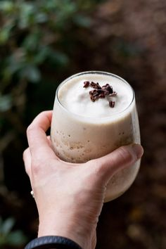 This high protein and low sugar protein shake is a coffee lover's dream. Toss all ingredients into the blender, top with cacao nibs and sip all the frothy goodness with a straw. Perfect for an afternoon pick me up.